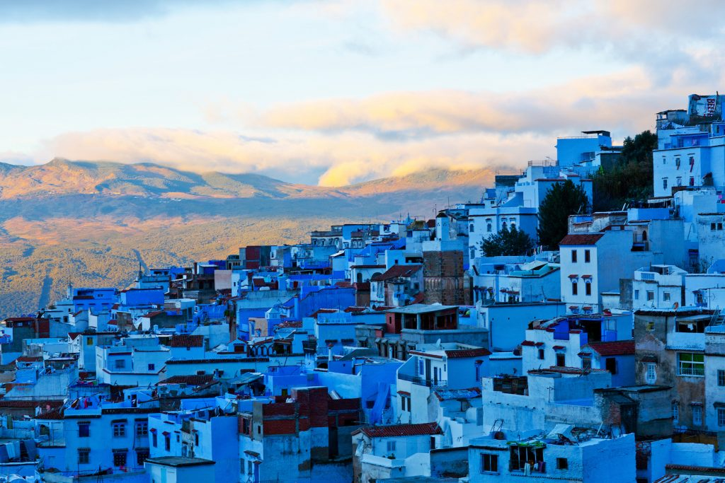 Medina of Chefchaouen, Morocco. Chefchaouen or Chaouen is a city in northwest Morocco. It is the chief town of the province of the same name, and is noted for its buildings in shades of blue.